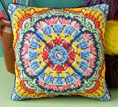 Crochet Stitches Kit : Crochet Mandala Mini Cushion Cross Stitch Kit, Sheena Rogers Designs ...