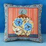 Blue Peony Mini Cushion Cross Stitch Kit