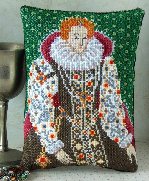 Portrait of Elizabeth I mini coussin point de croix kit Sheena Rogers Designs