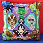 Monster Party Mini Cushion Cross Stitch Kit