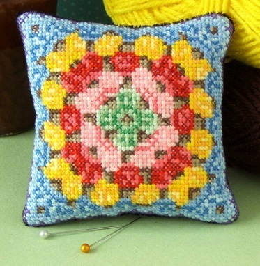 Granny Square Pincushion Cross Stitch Kit
