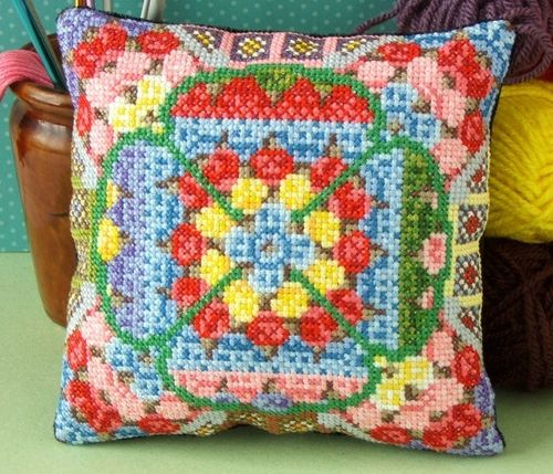 Granny Squares Mini Cushion Cross Stitch Kit