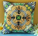 Honey Bees Mini Cushion Cross Stitch Kit