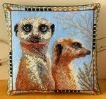 Meerkats Mini Cushion Cross Stitch Kit
