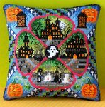 Halloween Village Mini Cushion Cross Stitch Kit