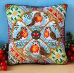 Christmas Robins Mini Cushion Cross Stitch Kit