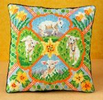 Spring Lambs Mini Cushion Cross Stitch Kit