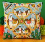 Llama Party Mini Cushion Cross Stitch Kit