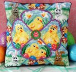 Easter Chicks and Bunnies Mini Cushion Cross Stitch Kit