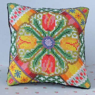 Time for Tulips Mini Cushion Cross Stitch Kit