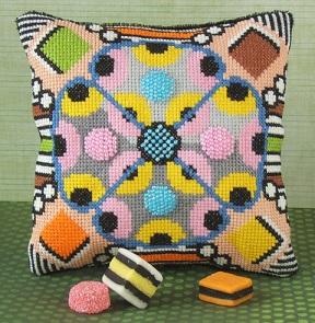 Liquorice Allsorts Cross Stitch Mini Cushion Kit