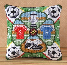 Football Crazy Cross Stitch Mini Cushion Kit