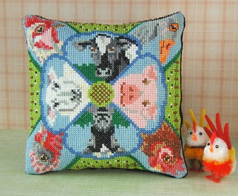 On the Farm Cross Stitch Mini Cushion Kit