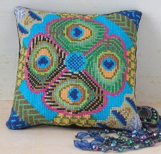 Pretty as a Peacock Mini Cushion Cross Stitch Kit