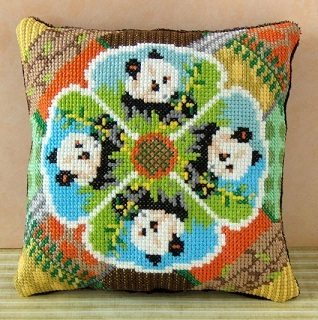Precious Pandas Mini Cushion Cross Stitch Kit