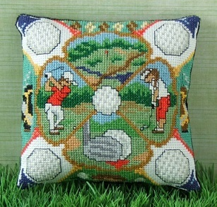A Round of Golf Mini Cushion Cross Stitch Kit