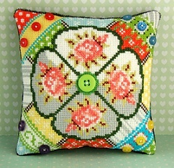 Patchwork Pieces Mini Cushion Cross Stitch Kit