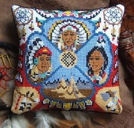 Native American Indians Mini Cushion Cross Stitch Kit