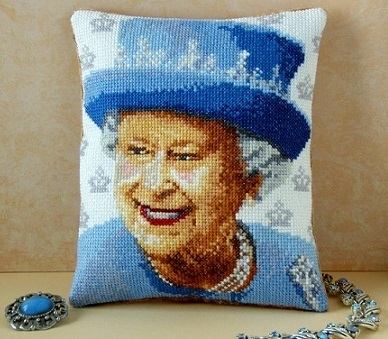 Queen Elizabeth II Mini Cushion Cross Stitch Kit