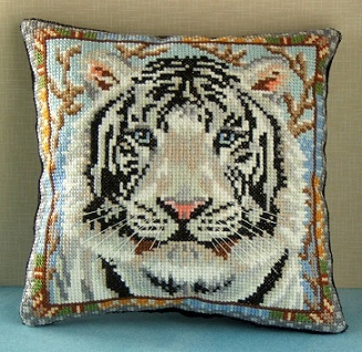 Snow Tiger Mini Cushion Cross Stitch Kit